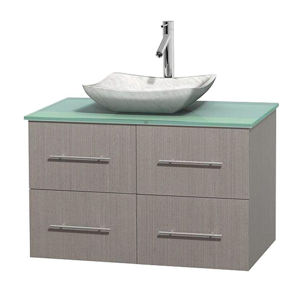 Centra 36-inch W Vanity in Grey Oak with Glass Top with White Basin