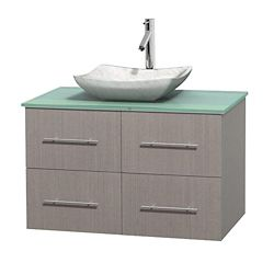 Wyndham Collection Centra 36-inch W 2-Drawer 2-Door Wall Mounted Vanity in Grey With Top in Green