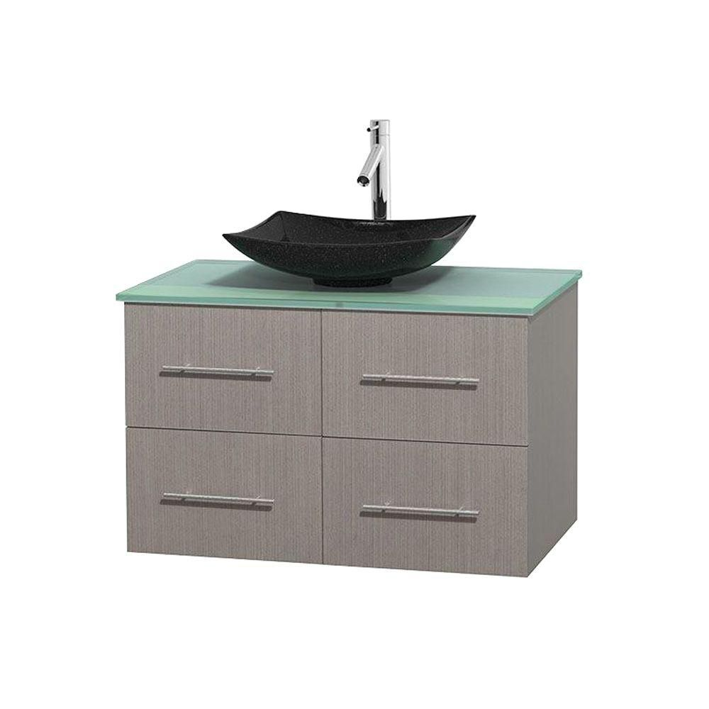 Centra 36-inch W 2-Drawer 2-Door Wall Mounted Vanity in Grey With Top in Green