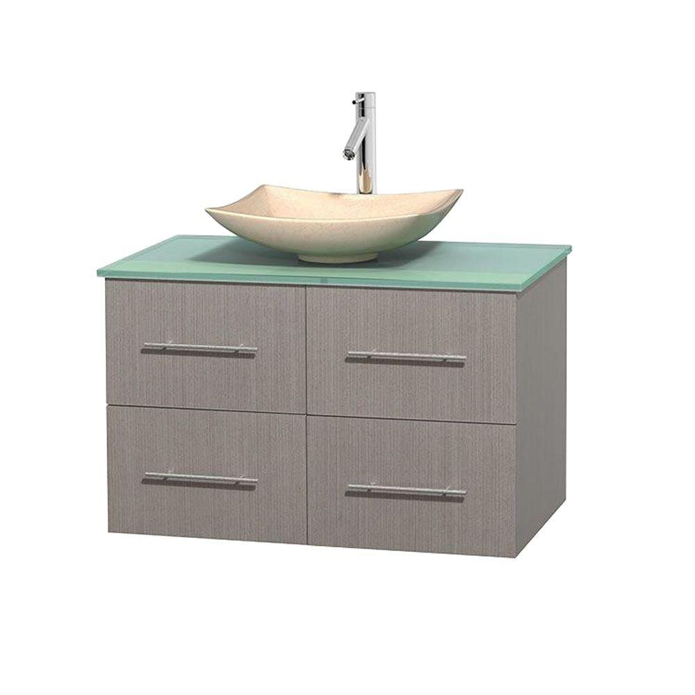 Centra 36-inch W Vanity in Grey Oak with Glass Top with Ivory Basin