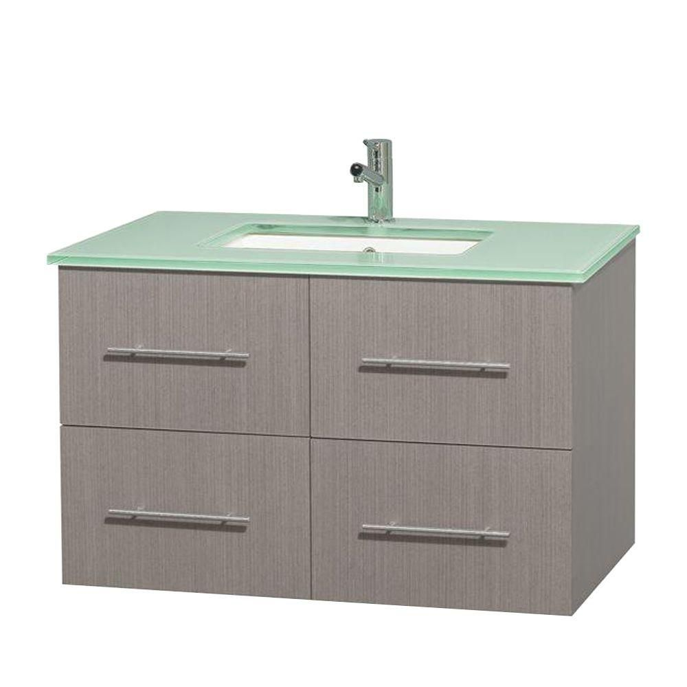 Centra 36-inch W Vanity in Grey Oak with Glass Top in Green and Square Sink