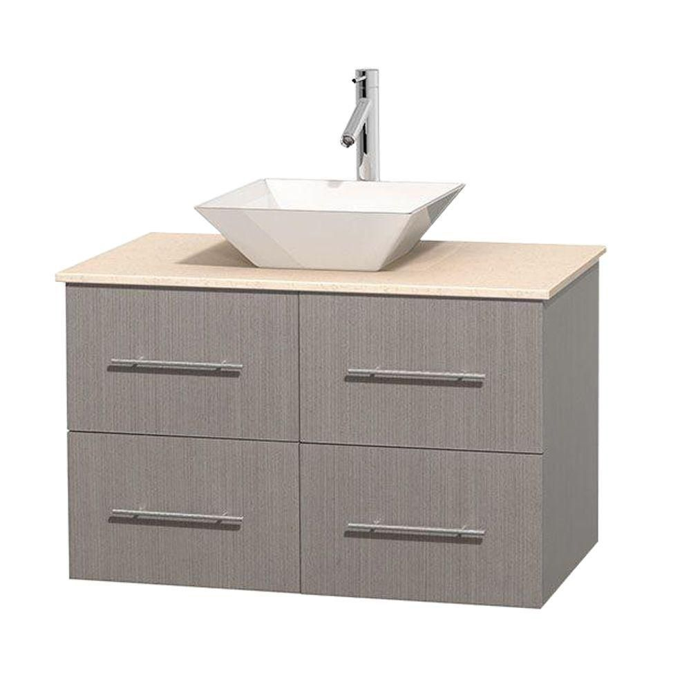 Centra 36-inch W Vanity in Grey Oak with Marble Top in Ivory with White Basin
