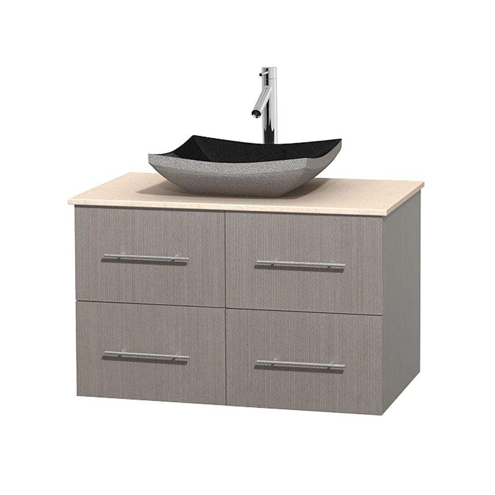 Centra 36-inch W Vanity in Grey Oak with Marble Top in Ivory with Black Basin