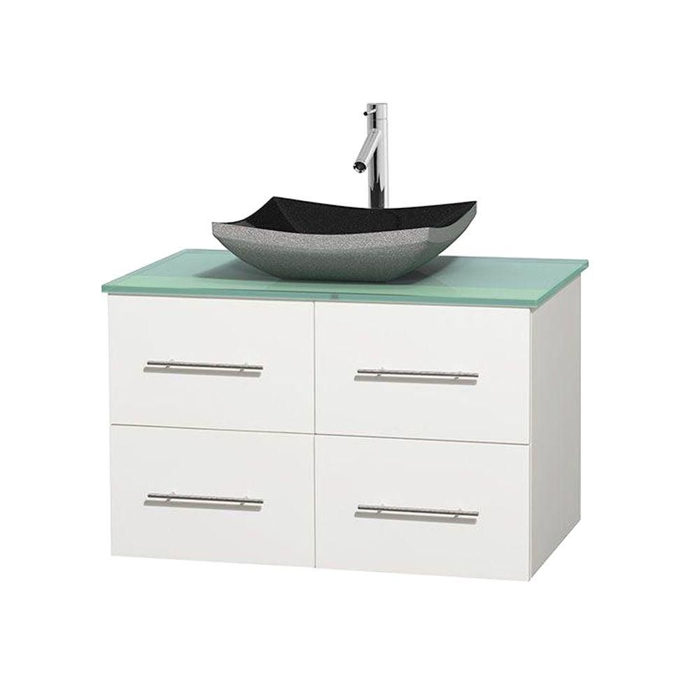Centra 36-inch W Vanity in White with Glass Top with Black Basin