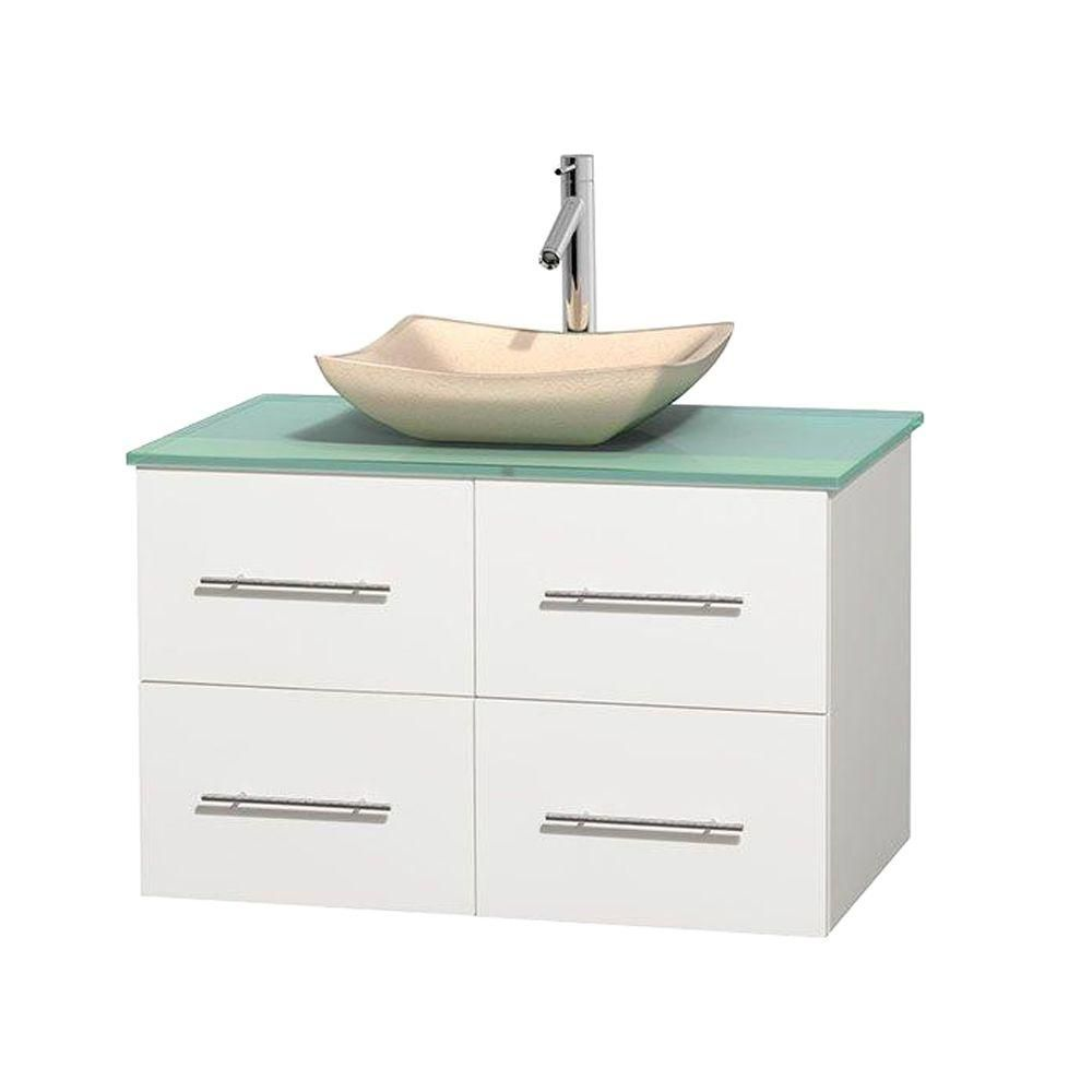 Wyndham Collection Centra 36-inch W 2-Drawer 2-Door Wall Mounted Vanity in White With Top in Green