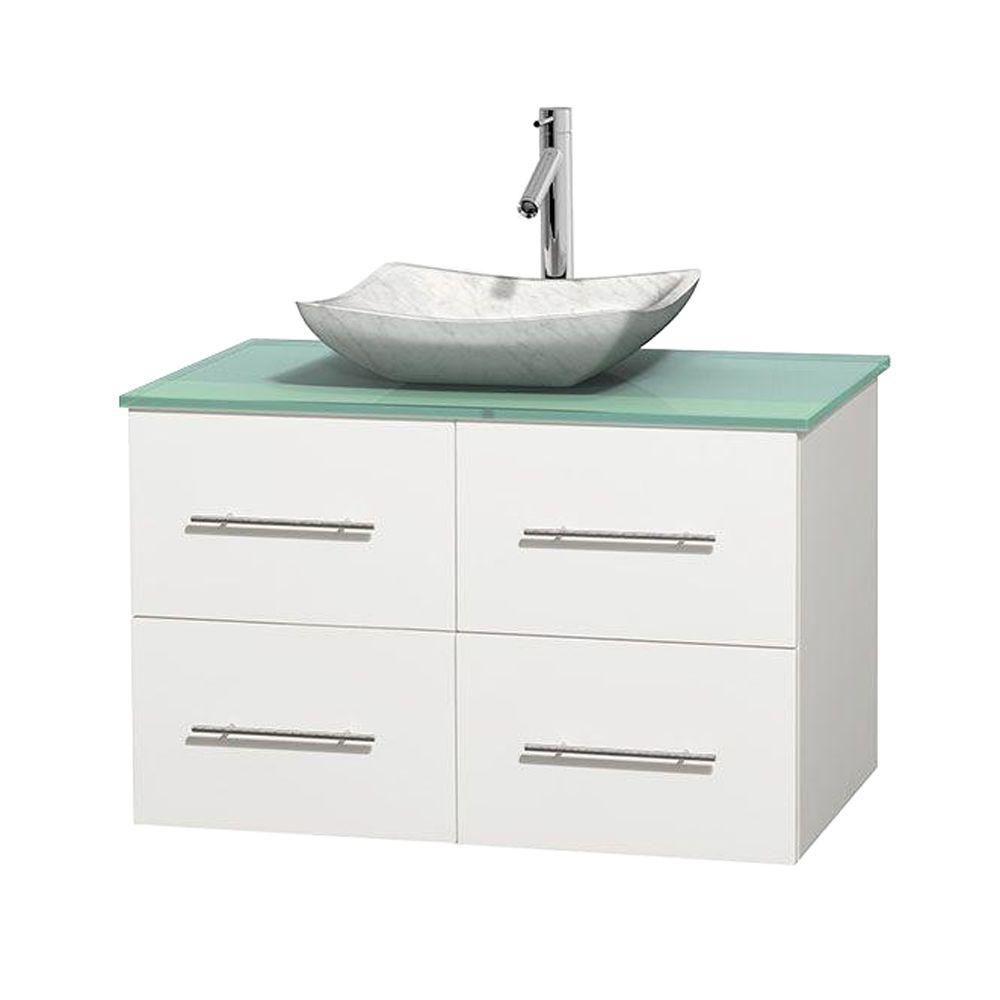 Meuble simple Centra 36 po. blanc, comptoir verre vert, lavabo blanc Carrare, sans miroir