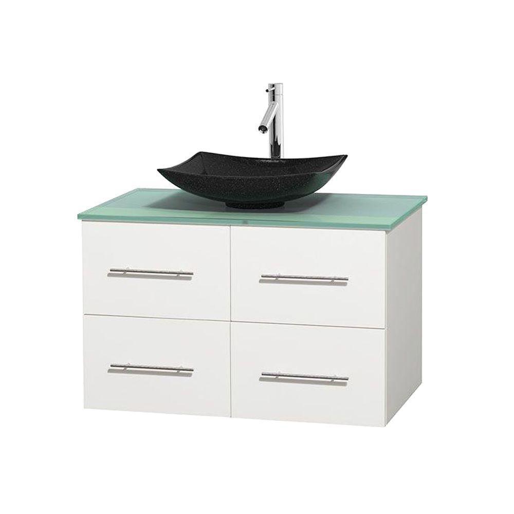Meuble simple Centra 36 po. blanc, comptoir verre vert, lavabo granit noir, sans miroir