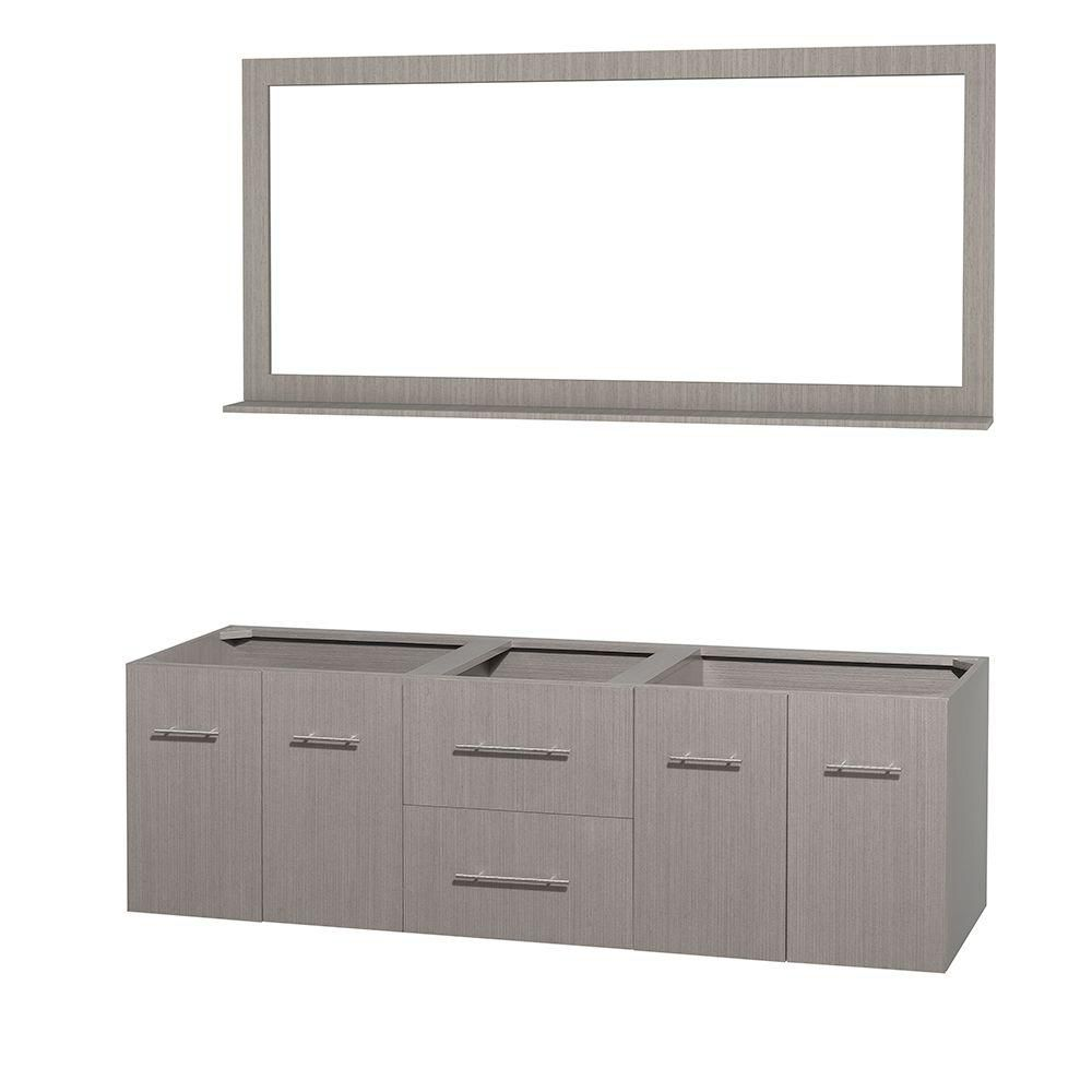 Centra 72-Inch  Double Vanity Cabinet with Mirror in Grey Oak