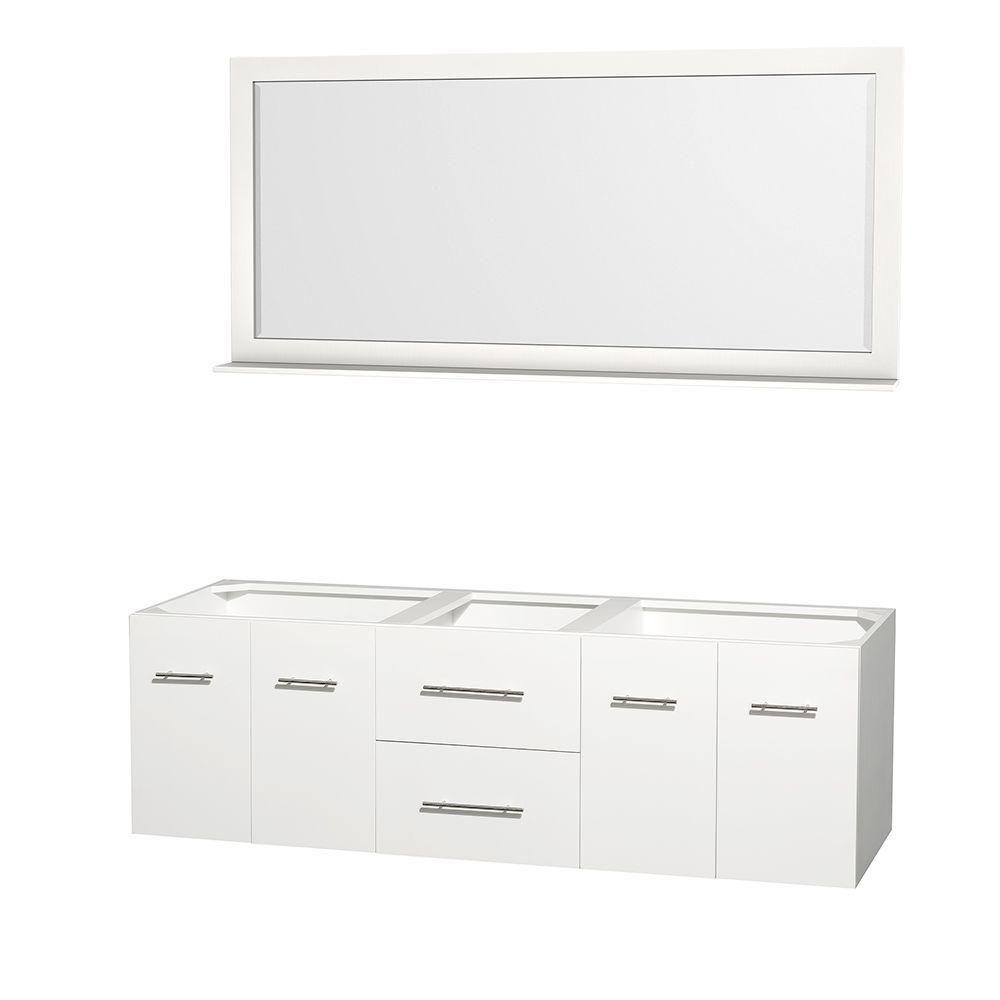 Meuble double Centra 72 po. blanc sans comptoir ni lavabos, un miroir 70 po.