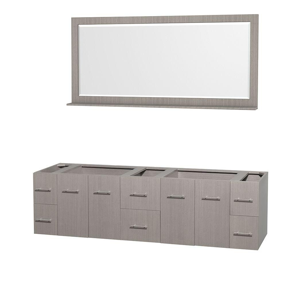 Centra 80-Inch  Double Vanity Cabinet with Mirror in Grey Oak