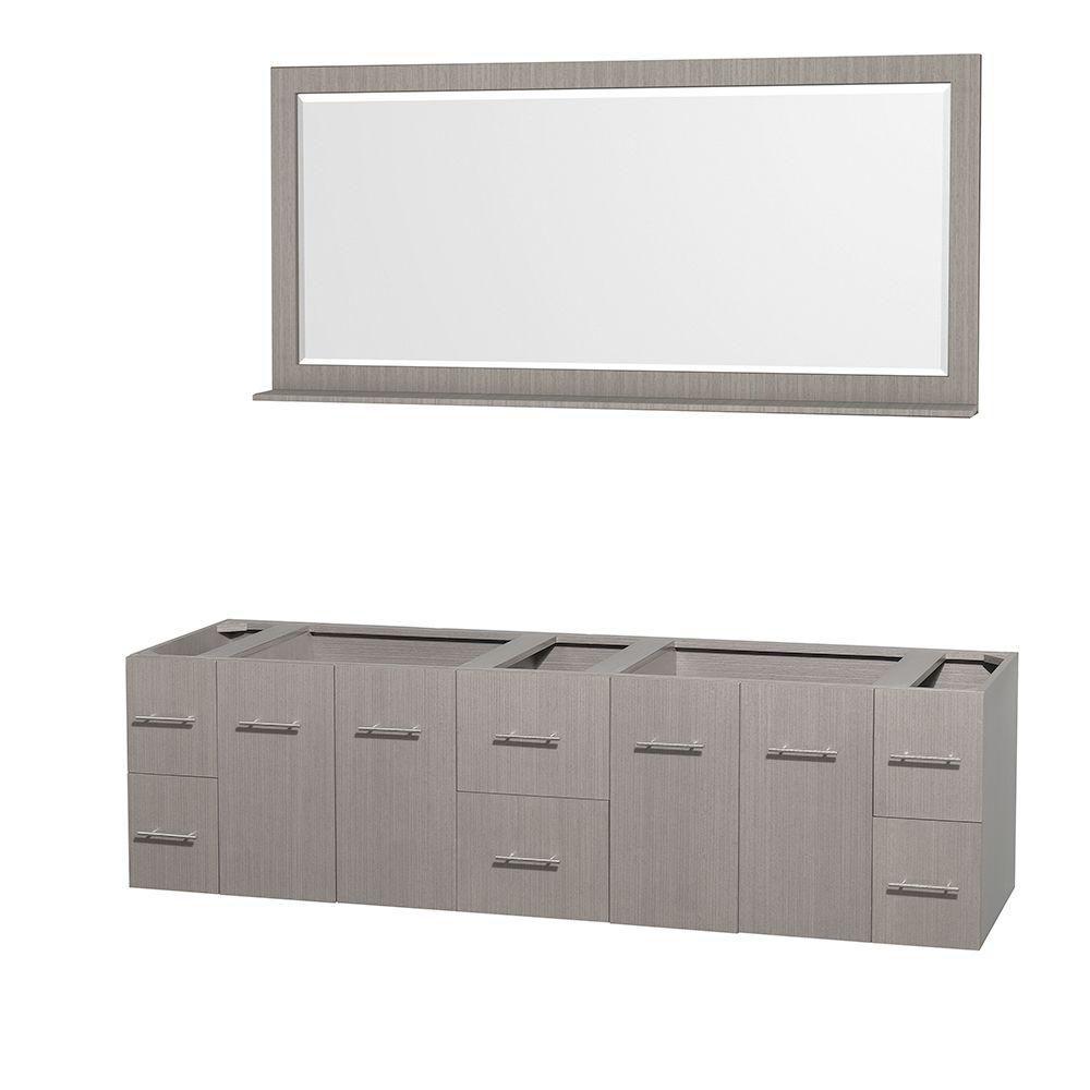 Meuble double Centra 80 po. chêne gris sans comptoir ni lavabos, un miroir 70 po.