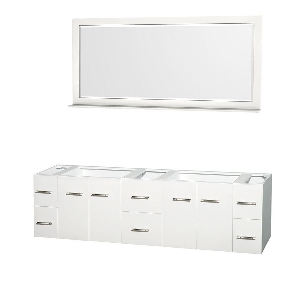 Wyndham Collection Centra 80-Inch  Double Vanity Cabinet with Mirror in White