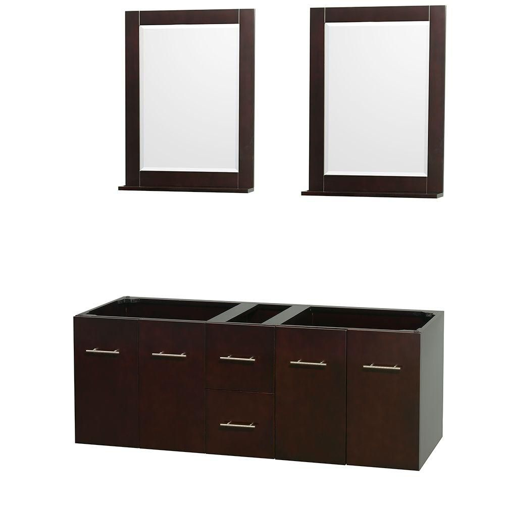 Centra 60-Inch  Double Vanity Cabinet with Mirrors in Espresso