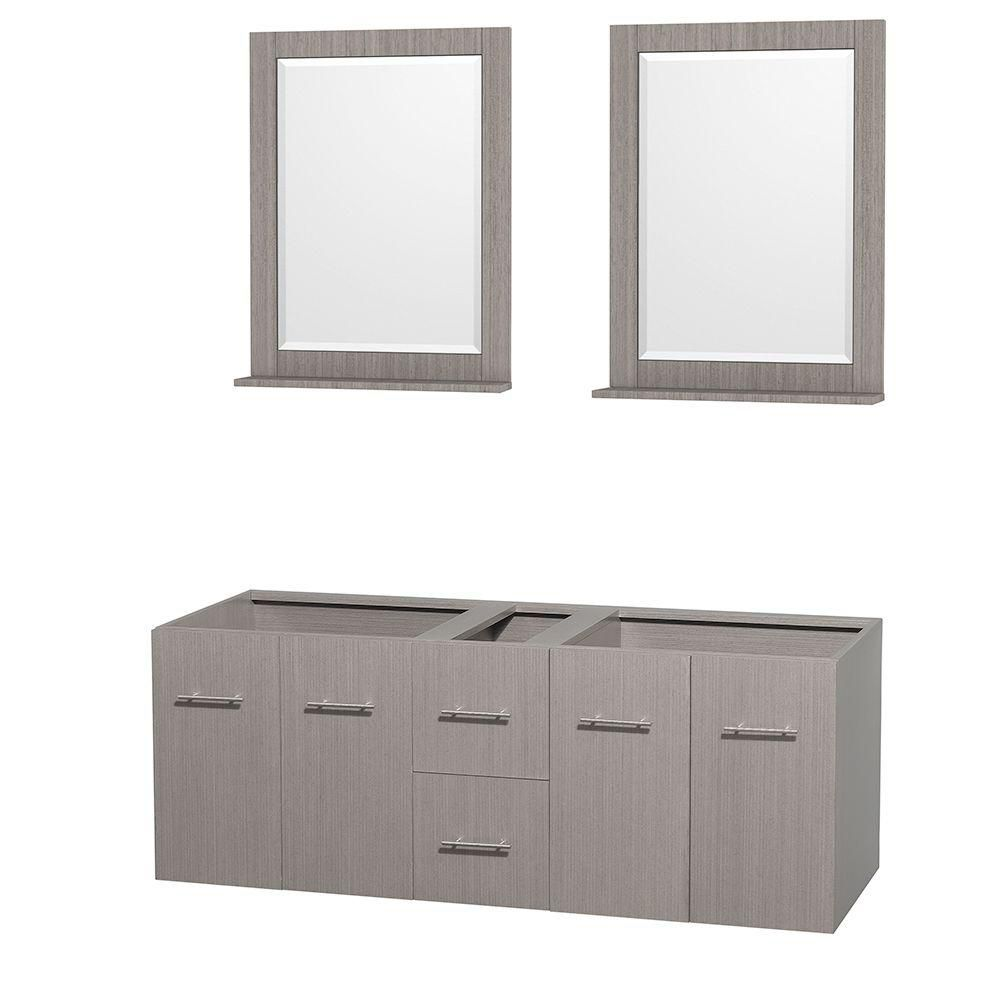 Centra 60 In. Double Vanity in Gray Oak and No Top and No Sinks and 24 In. Mirrors WCVW00960DGOCXSXXM24 in Canada