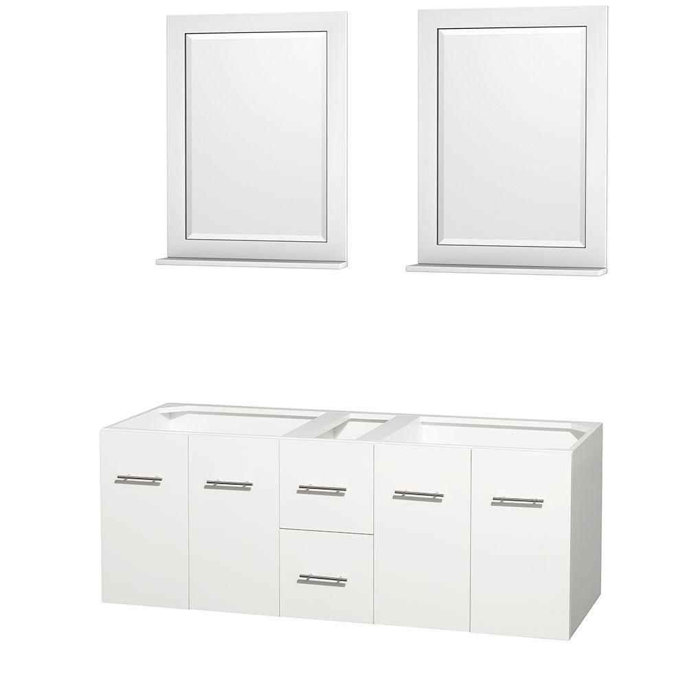 Meuble double Centra 60 po. blanc sans comptoir ni lavabos, des miroirs 24 po.