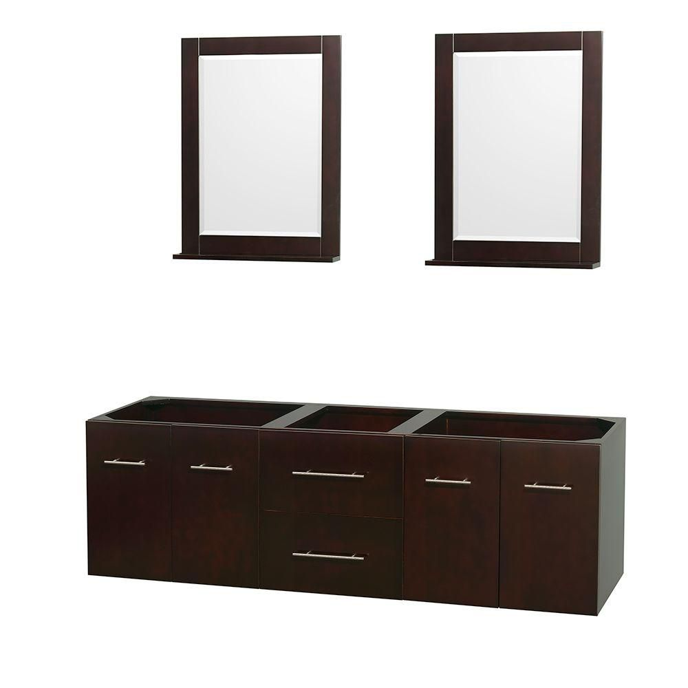 Centra 72-Inch  Double Vanity Cabinet with Mirrors in Espresso