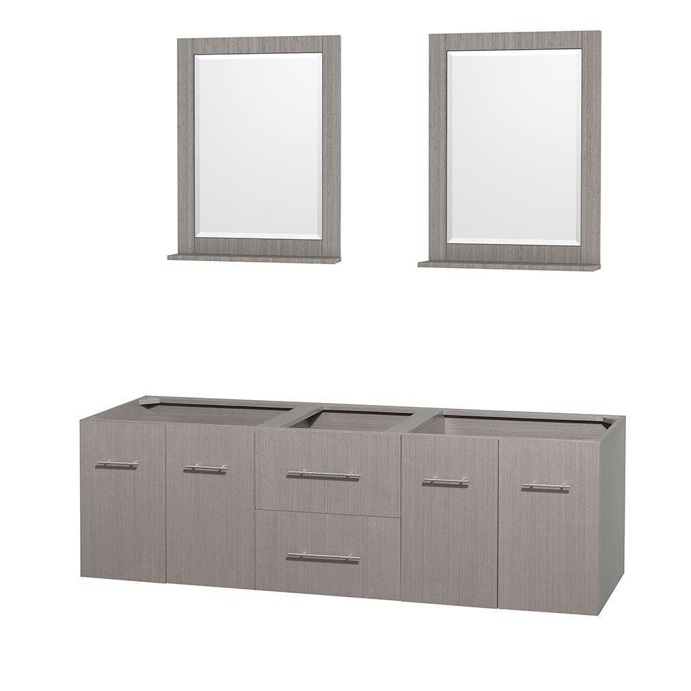 Meuble double Centra 72 po. chêne gris sans comptoir ni lavabos, des miroirs 24 po.