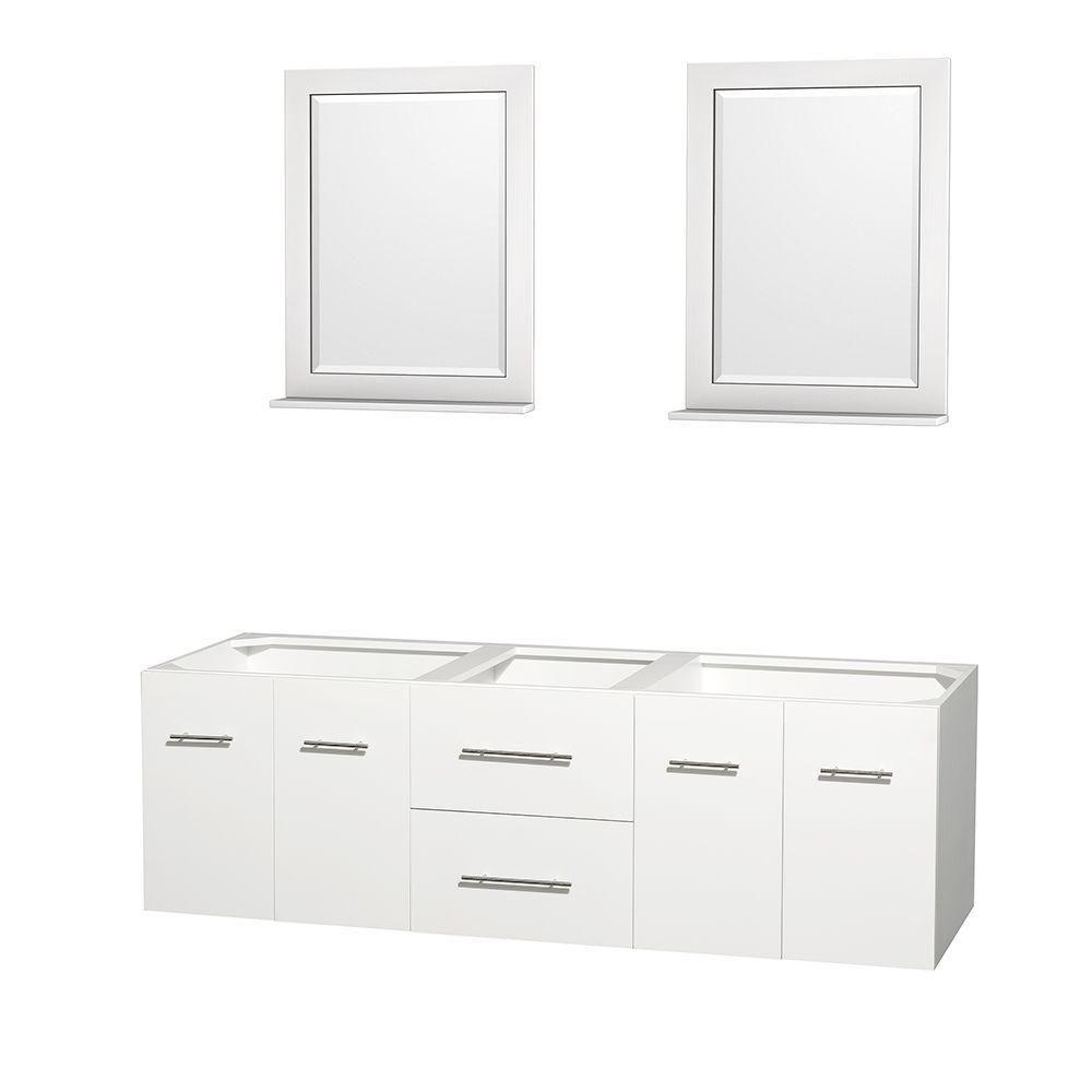 Meuble double Centra 72 po. blanc sans comptoir ni lavabos, des miroirs 24 po.