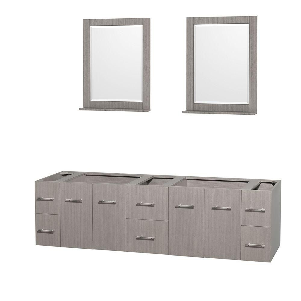 Centra 80-Inch  Double Vanity Cabinet with Mirrors in Grey Oak