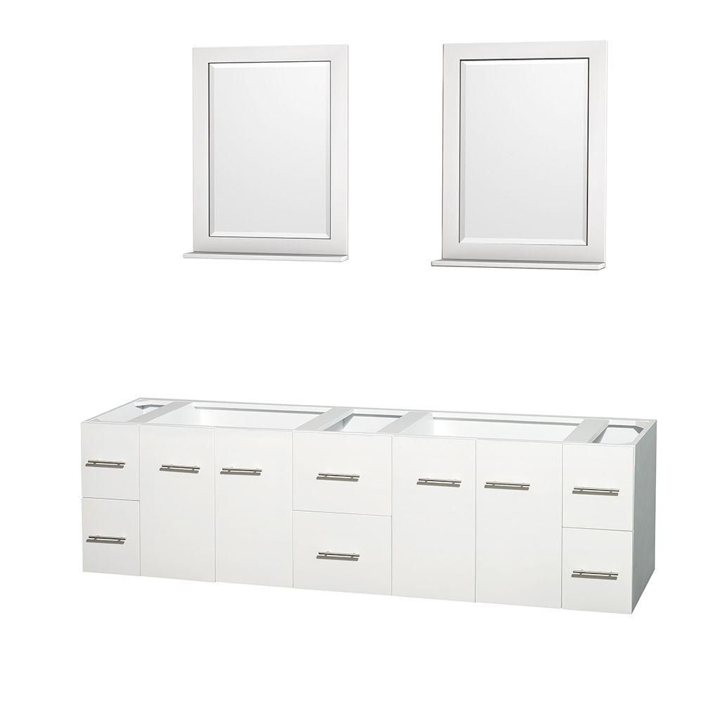 Meuble double Centra 80 po. blanc sans comptoir ni lavabos, des miroirs 24 po.