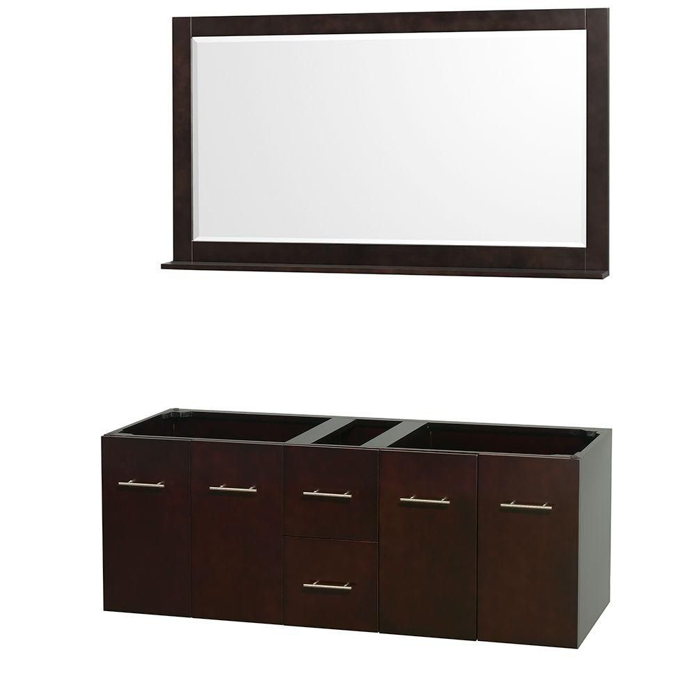 Centra 60-Inch  Double Vanity Cabinet with Mirror in Espresso