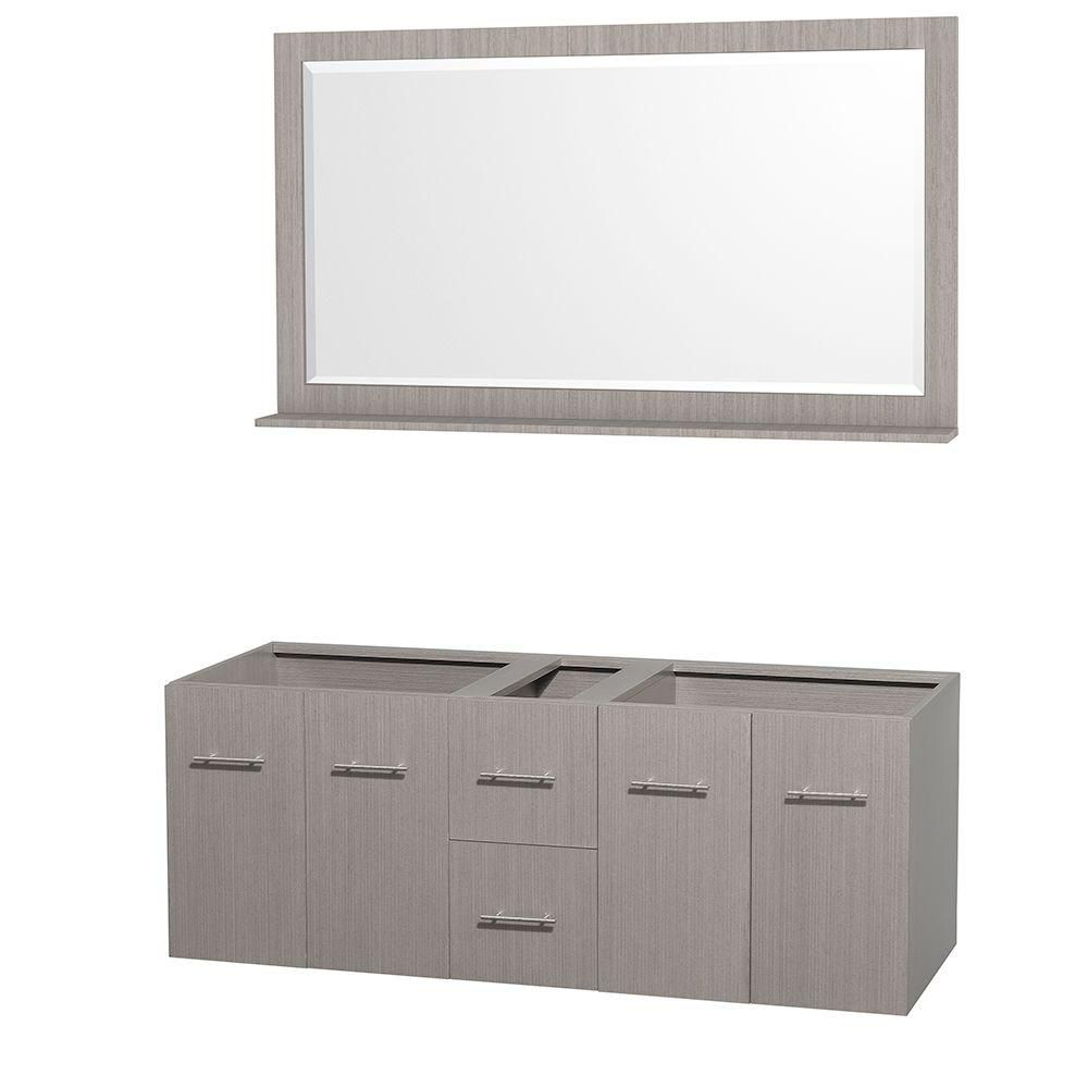 Centra 60-Inch  Double Vanity Cabinet with Mirror in Grey Oak