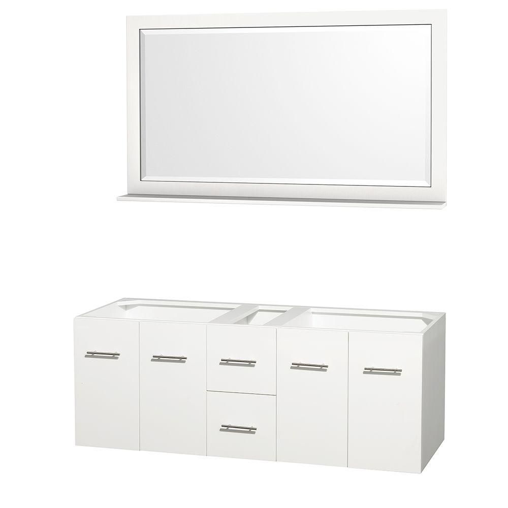 Centra 60-Inch  Double Vanity Cabinet with Mirror in White