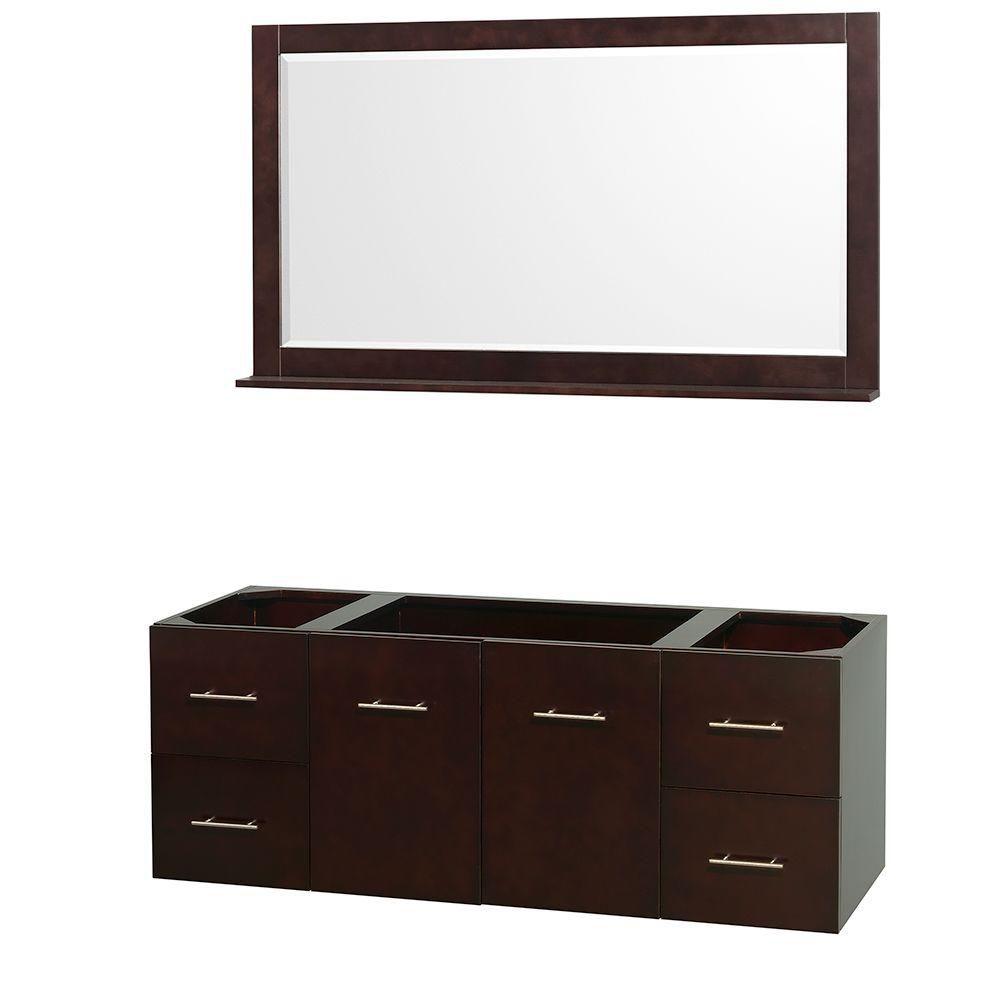 Centra 60-Inch  Vanity Cabinet with Mirror in Espresso