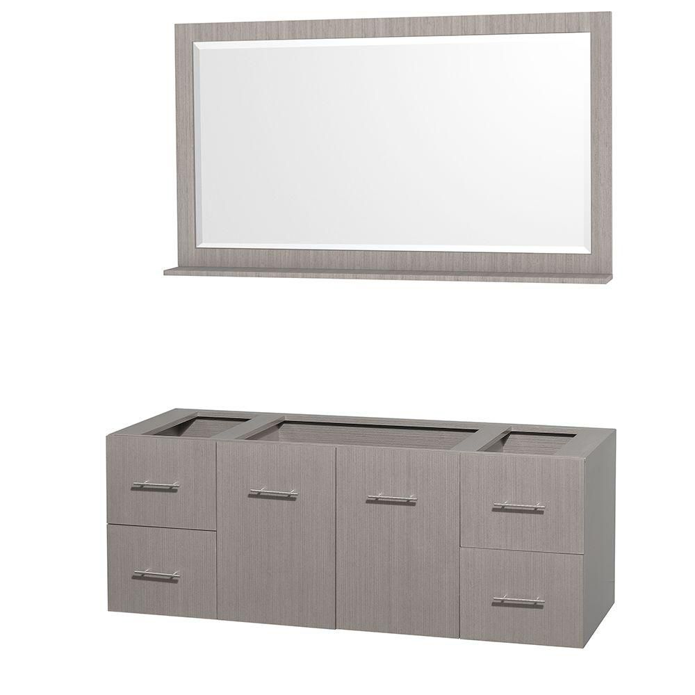 Centra 60-Inch  Vanity Cabinet with Mirror in Grey Oak