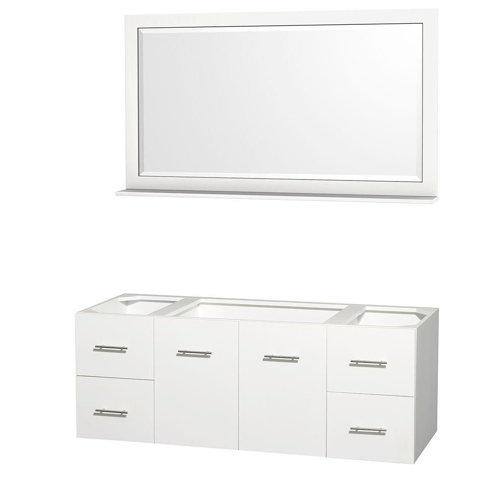 Wyndham Collection Centra 60-Inch  Vanity Cabinet with Mirror in White
