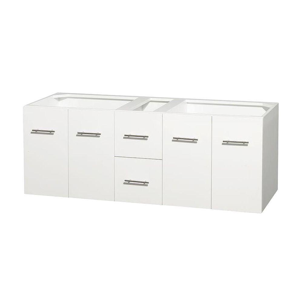 Meuble double Centra 60 po. blanc sans comptoir ni lavabos ni miroir