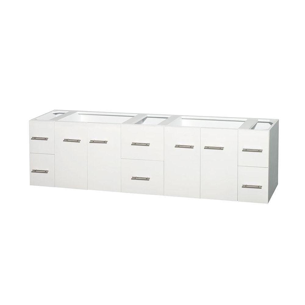 Meuble double Centra 80 po. blanc sans comptoir ni lavabos ni miroir