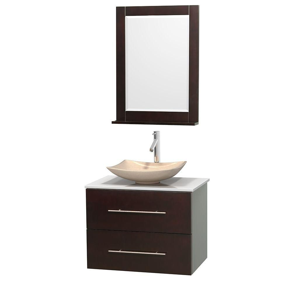 Centra 30-inch W 1-Drawer 1-Door Wall Mounted Vanity in Brown With Artificial Stone Top in White