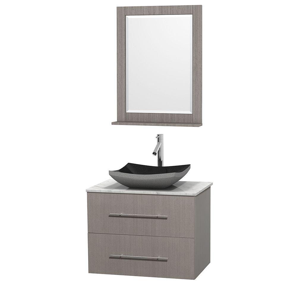 Meuble simple Centra 30 po. chêne gris, comptoir blanc Carrare, lavabo granit noir, miroir 24 po.
