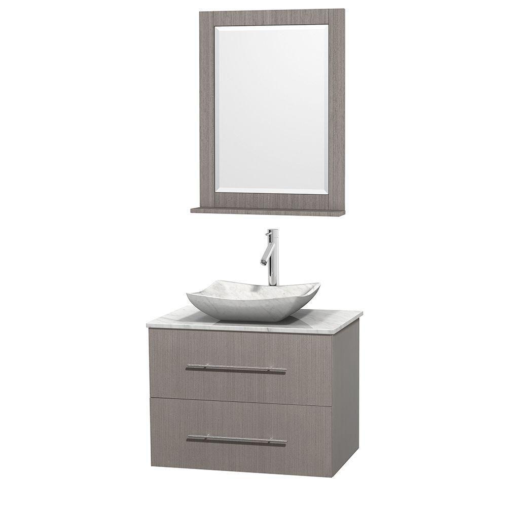 Meuble simple Centra 30 po. chêne gris, comptoir blanc Carrare, lavabo blanc Carrare, miroir 24 p...