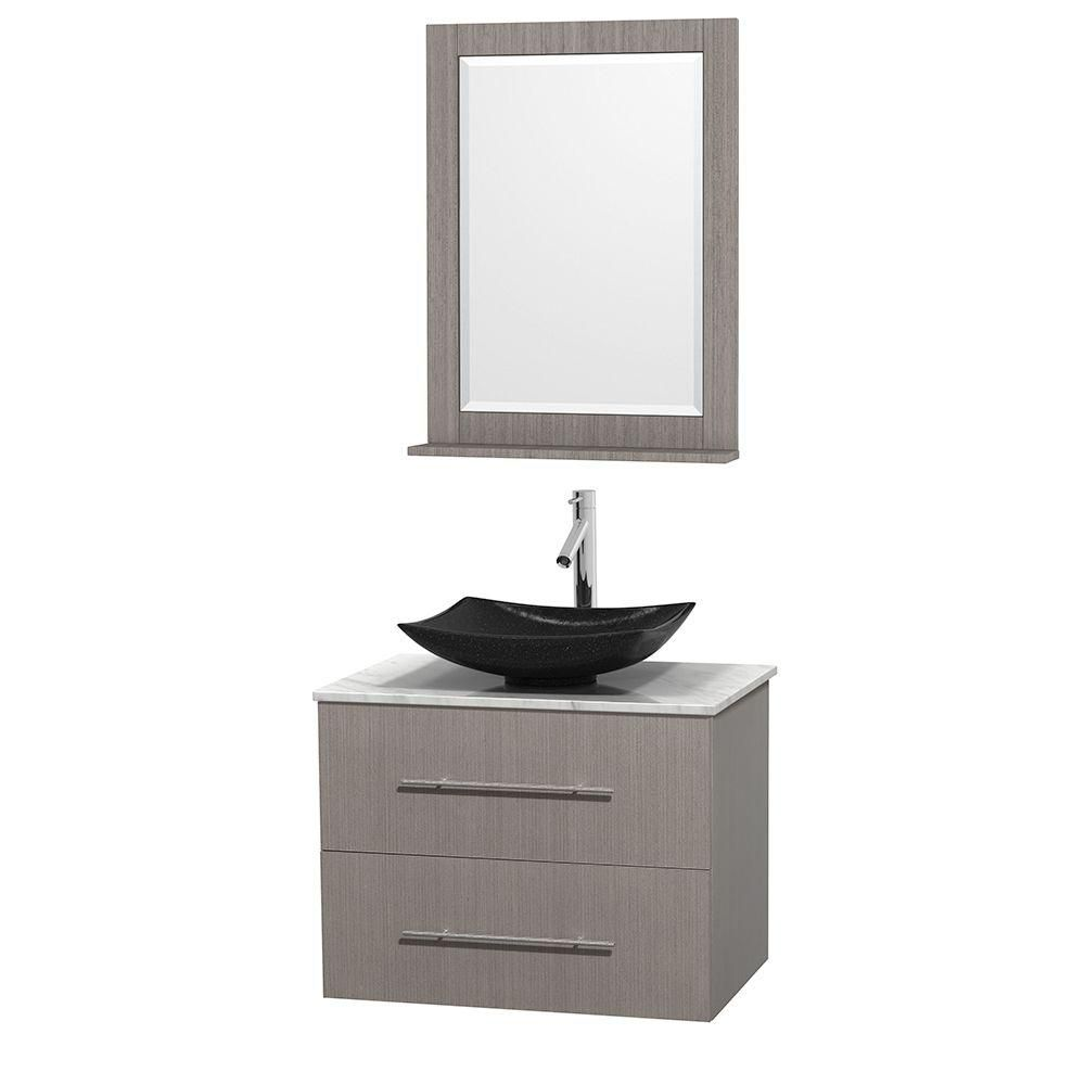 Centra 30-inch W Vanity in Grey Oak with White Top with Black Basin and Mirror