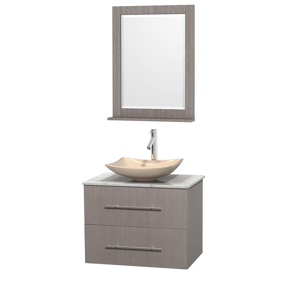 Centra 30-inch W Vanity in Grey Oak with White Top with Ivory Basin and Mirror