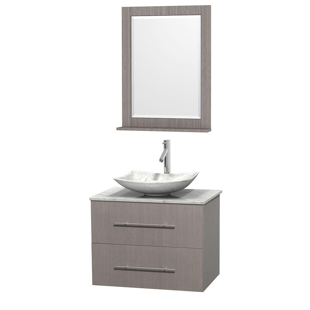 Centra 30-inch W Vanity in Grey Oak with White Top with White Basin and Mirror