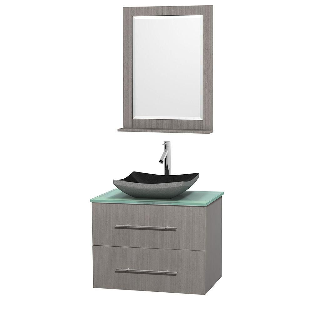 Centra 30-inch W Vanity in Grey Oak with Glass Top with Black Basin and Mirror