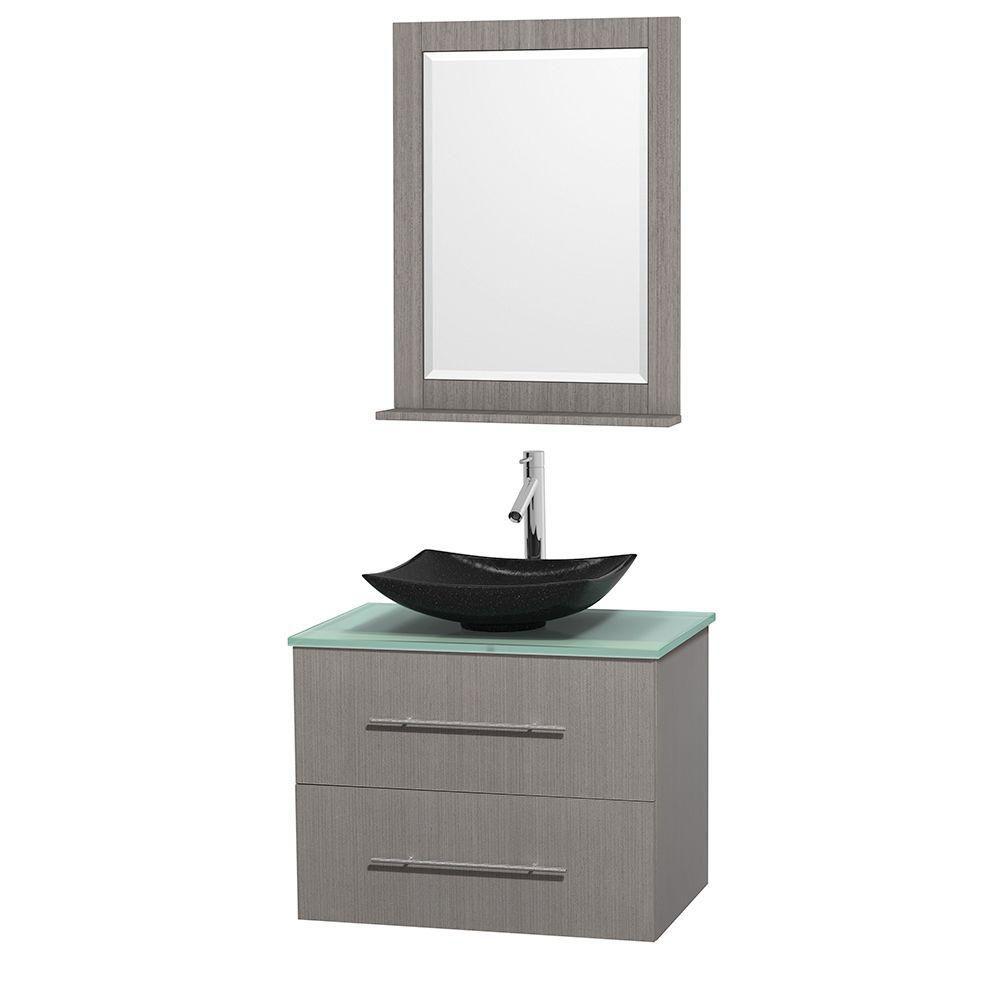 Meuble simple Centra 30 po. chêne gris, comptoir verre vert, lavabo granit noir, miroir 24 po.
