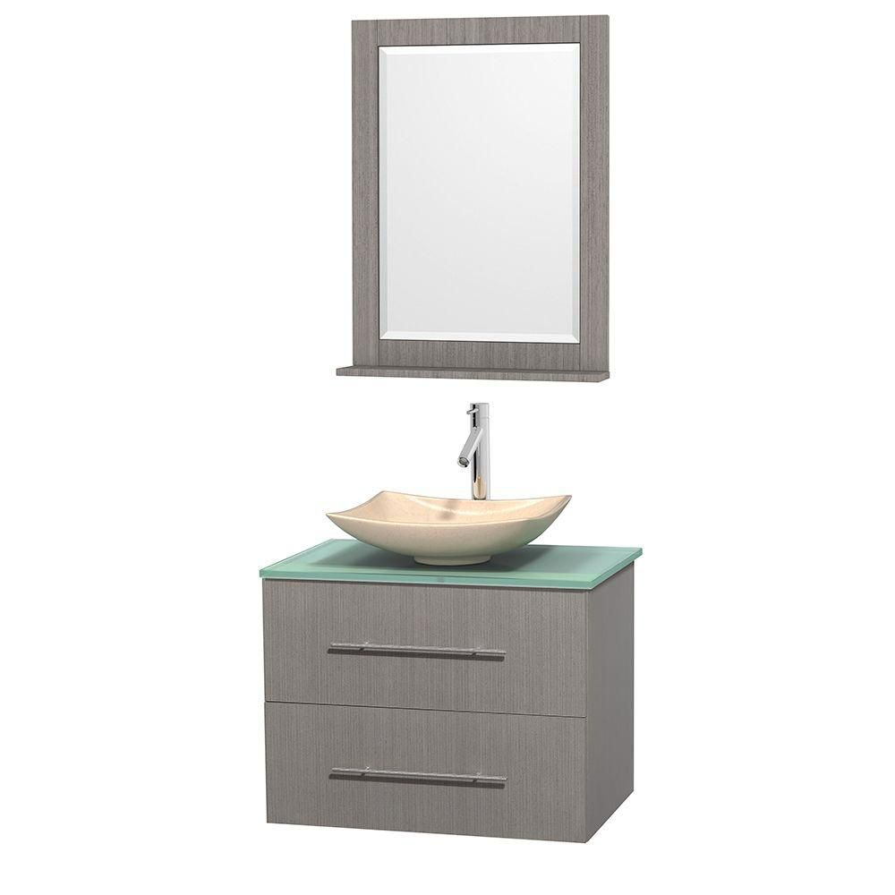 Centra 30-inch W Vanity in Grey Oak with Glass Top with Ivory Basin and Mirror