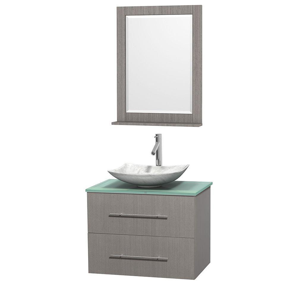 Meuble simple Centra 30 po. chêne gris, comptoir verre vert, lavabo blanc Carrare, miroir 24 po.