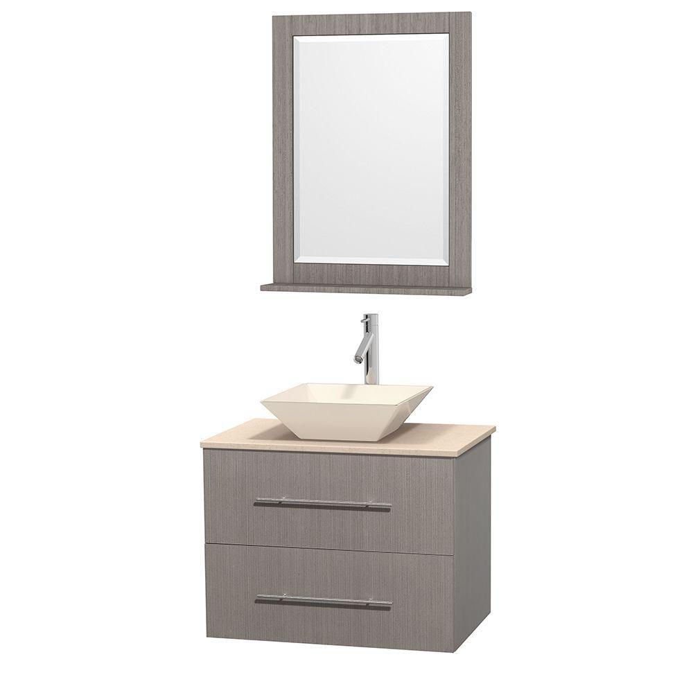 Meuble unique Centra 30 po. chêne gris, comptoir marbre ivoire, lavabo porcelaine bone, miroir 24...