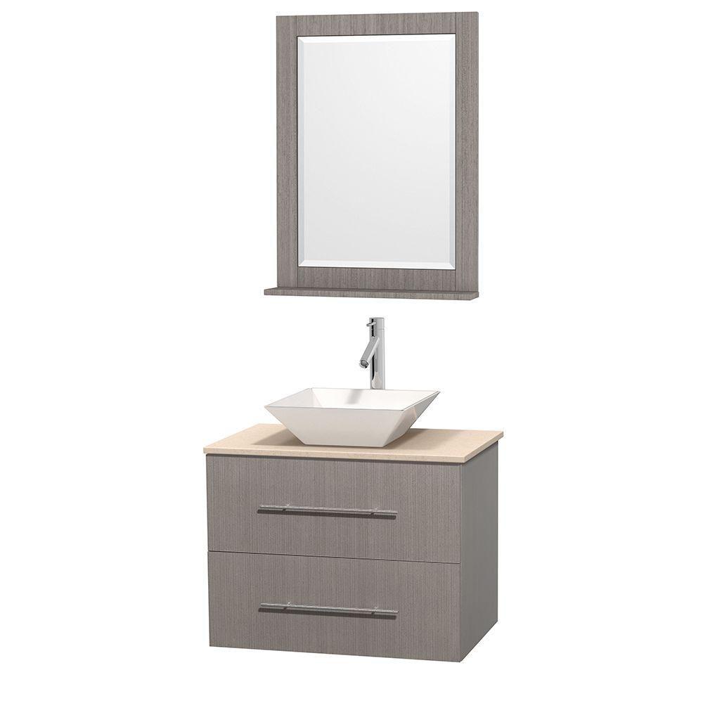 Meuble unique Centra 30 po. chêne gris, comptoir marbre ivoire, lavabo porcelaine blanche, miroir...