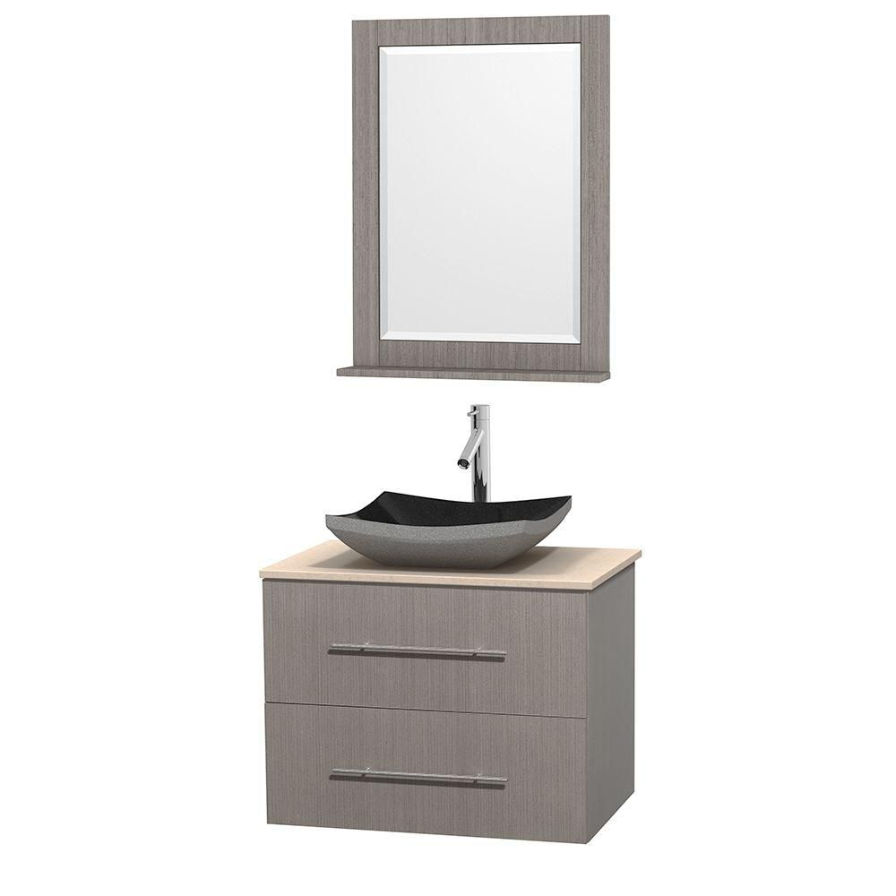 Centra 30-inch W Vanity in Grey Oak with Marble Top in Ivory with Black Basin and Mirror
