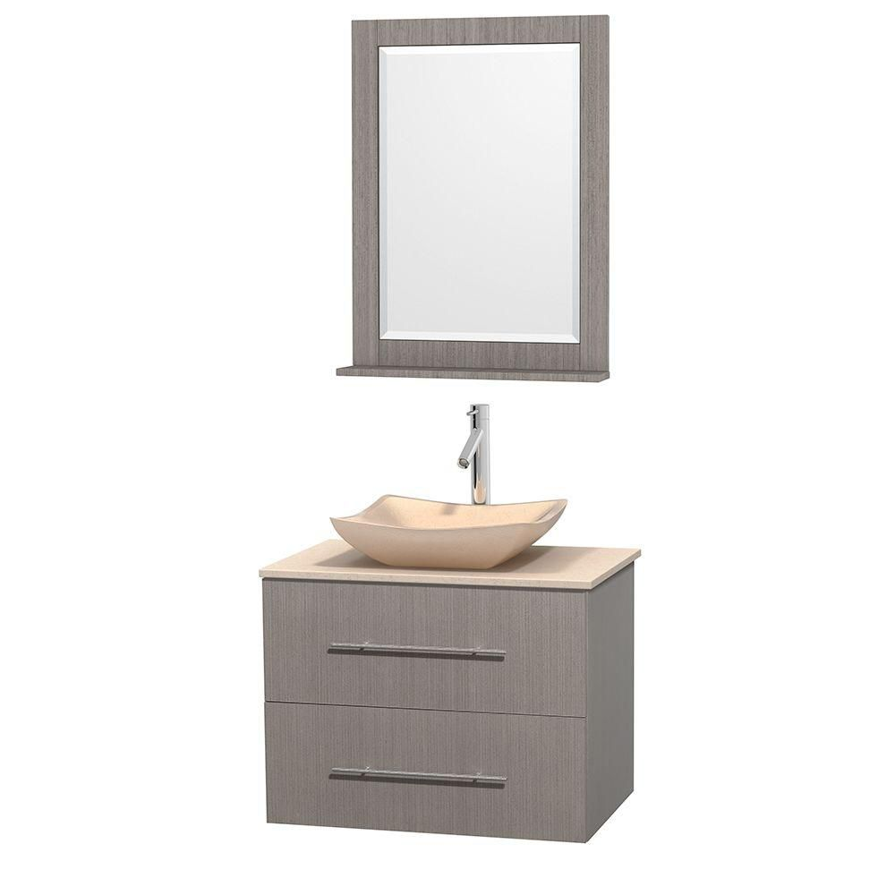 Centra 30-inch W Vanity in Grey Oak with Marble Top in Ivory with Ivory Basin and Mirror