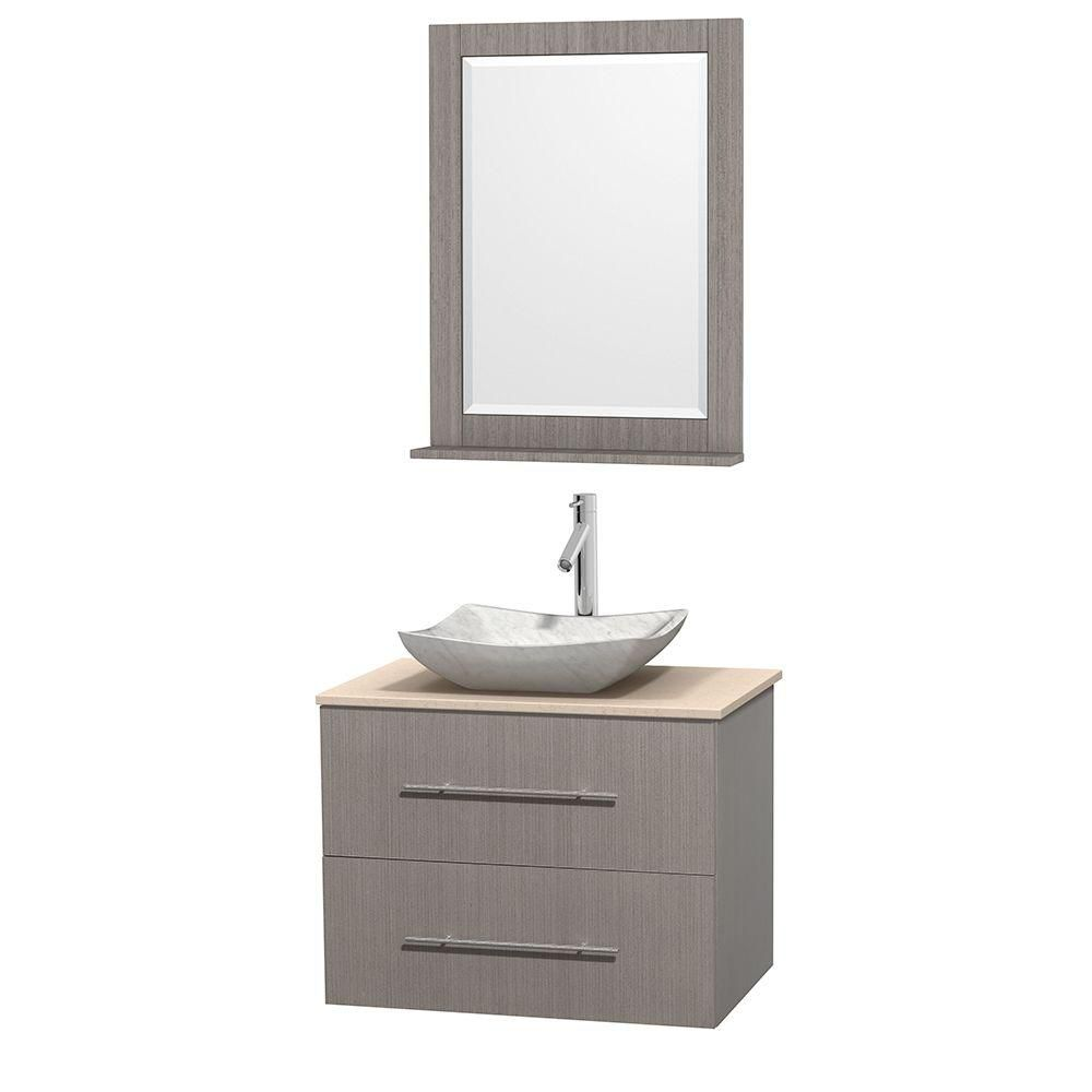 Centra 30 In. Single Vanity in Gray Oak with Ivory Marble Top with White Carrera Sink and 24 In. Mirror WCVW00930SGOIVGS3M24 Canada Discount