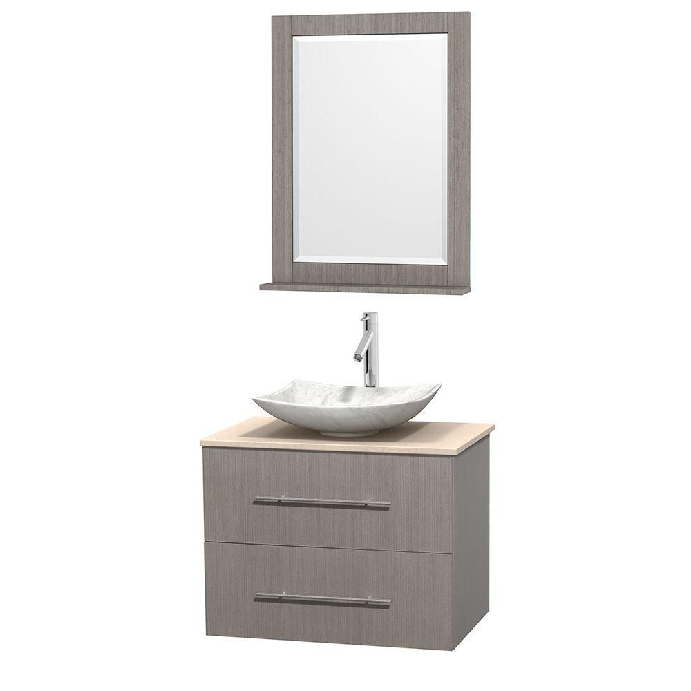 Centra 30-inch W Vanity in Grey Oak with Marble Top in Ivory with White Basin and Mirror