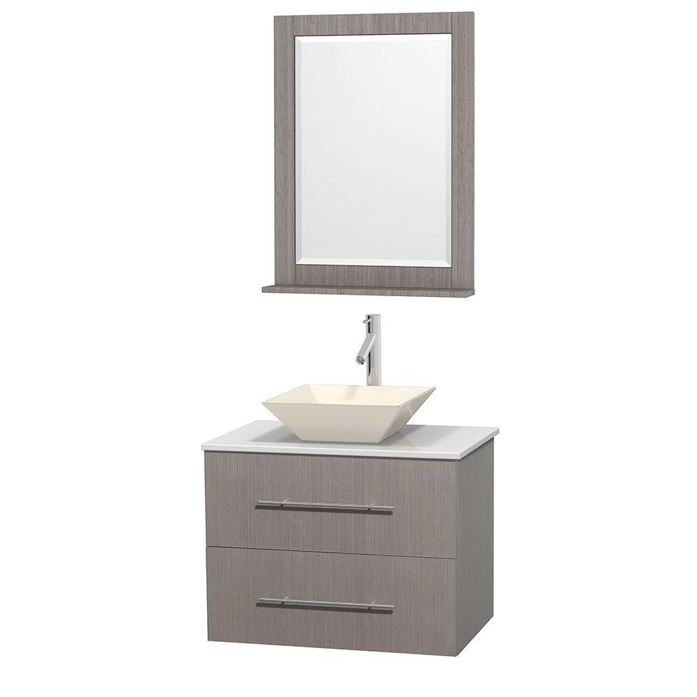 Centra 30-inch W Vanity in Grey Oak with Solid Top with Bone Basin and Mirror