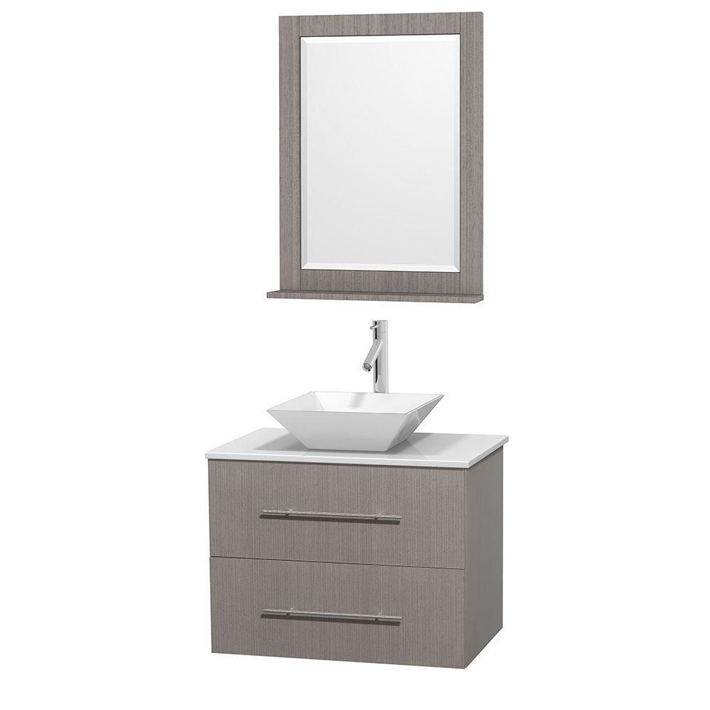Meuble unique Centra 30 po. chêne gris, comptoir solide, lavabo porcelaine blanche, miroir 24 po.